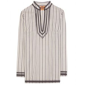 Tory Burch Navy/White Stripe Embellished Tunic Top